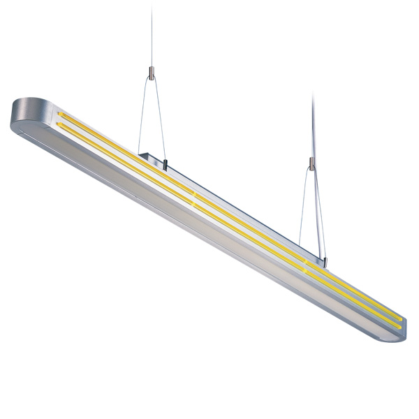 DZ2-1611U T5 suspension indoor lamp, acrylic decorative strips, for office and commercial and residential use.